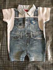 PAMPOLINA designer SUMMER POLO DUNGAREES PLAYSUIT 3-6 boy ROMPER OUTFIT reborn