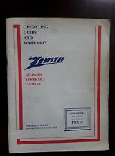 ZENITH COLOR TV OWNERS USER MANUAL OPERATING INSTRUCTIONS GUIDE ADVANCE SYSTEM 3