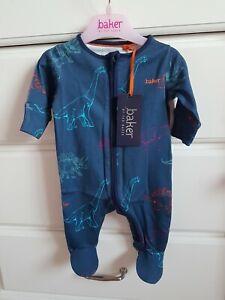 BNWT Ted Baker Baby Boy Dinosaur Print Sleepsuit Age Newborn