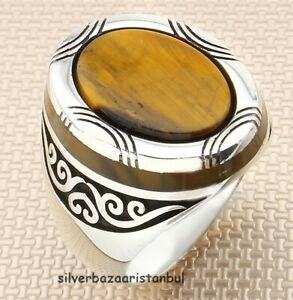 Handmade with Cute Agate Aqeeq Stone 925 Sterling Silver Turkish Luxury Men Ring