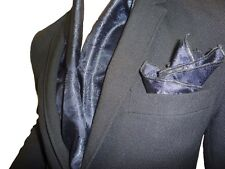 Echarpe + carre de poche homme 100% soie cachemire BLEU MARIN Made in France 256c53e8002