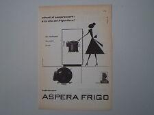 advertising Pubblicità 1960 COMPRESSORI ASPERA FRIGO