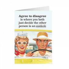 """Retro Humour """"Agree To Disagree"""" Greetings Card Birthday Gift Occasion Funny"""