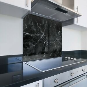 Toughened Printed Kitchen Glass Splashback - Bespoke Sizes - Black Marble Effect