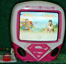 "DC COMICS RARE PINK SUPER GIRL 13"" COLOR TV / DVD COMBO REMOTE MANUAL WORKS"