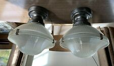 "Pair antique 4"" fitter Holophane AISLE hall light fixtures rewired"