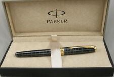 Parker Sonnet Dark Grey Grid Lacquer & Gold Fountain Pen In Box - 18kt M Nib