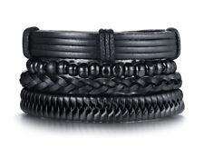 Punk 4pcs/ Set Black Bracelets For Men Bangle Adjustable Length Bohemia Jewelry