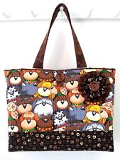 "NEW - ""Haute Dogs"" - Big Large Beach Bag Market Tote Brown Tan Animal Paw Print"