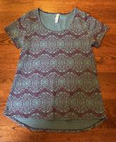 LuLaRoe Women's Size Small Tunic Top Shirt Purple Blue Geometric Pattern