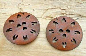 Petal Flower Wooden Cutout Disc Brown Hook Earrings 5cm Diameter NEW