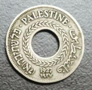 1927 PALESTINE 5 MILS COPPER-NICKEL BRITISH MANDATE OLD COIN KM 3