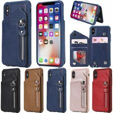 For iPhone XS XR 6s 7 8 Plus Zipper Wallet Card Holder Leather Phone Case Cover