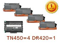 4PK TN450 Toner + 1PK DR420 drum For Brother DCP-7065DN MFC-7360N 7460DN 7860DW