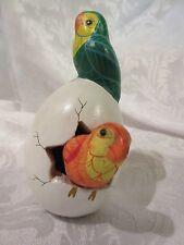 Vintage Intradezo Mexico Ceramic Hatching Egg Pair of Love Birds Sculpture