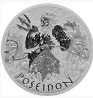 2021 1 OZ TUVALU GODS OF OLYMPUS - POSEIDON .9999 SILVER BU COIN **PRE SALE**