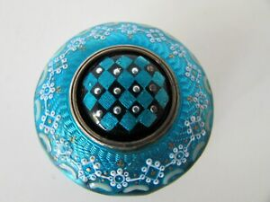 ANTIQUE STERLING SILVER GUILLOCHE TURQUOISE ENAMEL PAINTED GUARD TRINKET PILLBOX