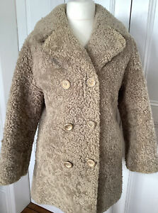 """VINTAGE COAT GENUINE SWEDISH FUR """"SKANDIPALS"""" M 40"""" DOUBLE BREASTED SHEARLING"""