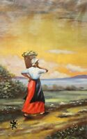 Stunning Oil Landscape On Canvas Black Woman Gathering Fruit Tropical Beach