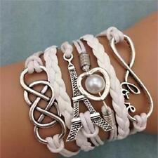 Fashion Love Heart Tower Friendship Antique Silver Leather Charm Bracelet