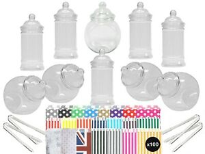 10 Small Plastic Sweet Jars, 4 tongs, 50/100 bags for Truly Sweet Candy Buffet