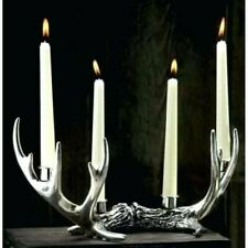 Rustic Silver Stag Deer Antlers 4 Taper Candle Holder Home Decoration Christmas
