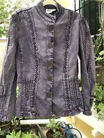 Vintage Diane Gilman Purple Denim Long Button Up Jacket Size L Rare