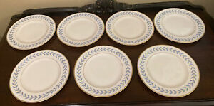 "7 Syracuse Old Ivory Sherwood Blue Laurel 8"" Salad Plates"