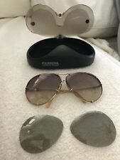 Porsche carrara sunglasses vintage original case gold frame interchange lens