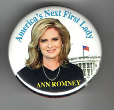 ROMNEY President 2012 Pin pinback ANN First Lady 2.25 inch