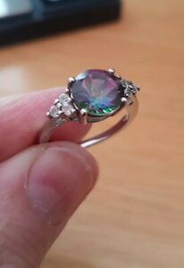 Sterling Silver Mystic Topaz Ring With White Accents Size N