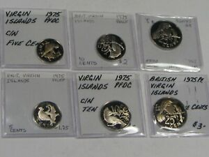 Set of 6 1975 PROOF British Virgin Islands Coins: 5 Cent(2), 10C(2), 25C(2). #47