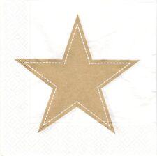 2 Serviettes papier Étoile dorée Noël Decoupage Paper Napkins Simply star gold