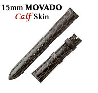 Genuine MOVADO 15mm Brown Calf Skin Watch Strap Band Brand New Retail $90.00