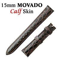 Genuine MOVADO 15mm Brown Calf Skin Watch Strap Band Brand New Retail $90.00