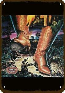 1982 NOCONA BOOTS Cowboy vs Tarantula Vintage Look DECORATIVE REPLICA METAL SIGN