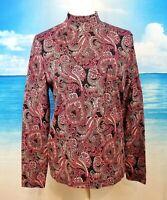 KIM ROGERS Womans MULIT-COLOR PAISLEY Turtleneck Knit Top COTTON Stretch size Lg