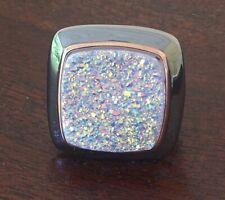 Two-tone Drusy Quartz Ring Size 10 Arte d' Argento Black Rhodium Sterling Bold