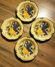 4 HOME TRENDS GRANADA SALAD PLATES FRUIT Pattern APPLE PEAR GRAPES Pottery 8.5""