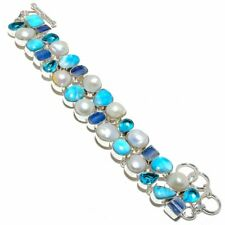 "Caribbean Larimar, Kyanite, Pearl Silver Fashion Jewelry Bracelet 7-8"" SB5025"