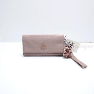 NWT Kipling AC8150 RUBI Snap Long Wallet Wristlet Polyamide Antique Rose Tonal