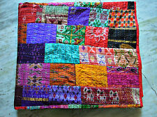 Indian Patola Silk Patch Work Kantha Quilt Kantha Blanket Bedspread Twin Quilt