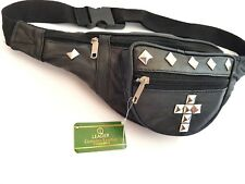 Festival Leather Bum Bag Black // Fanny Pack // Cross, Studs, Urban, Travel