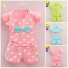 2pc baby girl clothes summer Tee+short pants kids girls casual outfits polka dot