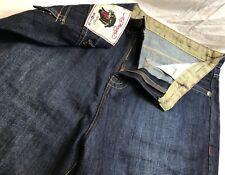 Ed Hardy Men'S Dark Jeans Size 40 X 34 Vintage Tatoo Usa Dogs Rule Pit Bull Dog
