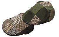 Mens Ladies Wool Tweed Patch Hat Country Farmer Flat Cap - GREEN BROWN RRP £20