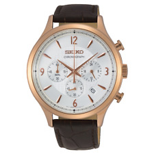 Seiko Mens Conceptual Chronograph Rose Gold Brown Leather Watch SSB342P1 New