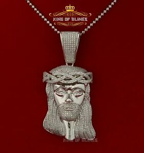 10K White Gold finish Jesus Crown Head with lab Created Diamonds Silver Pendant