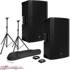 """Pair of Mackie Thump15A 1300W 15"""" Class-D Powered PA Loudspeakers - Live Bundle"""