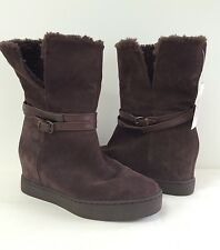 New Coach Norell Suede.Shearling Cold Weather Boots Chestnut Brown Size 7 New